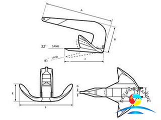 Marine Offshore Casting Steel TS Style Bruce Anchor For Vessel
