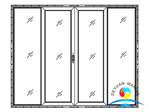 Ship Marine Twin-leaves Fixed Twin-leaves Slided Aluminium Sliding Door