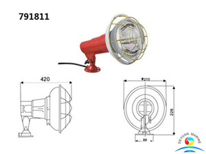 400W Marine Small Flanged-Base Spot Lights For Tug Boat