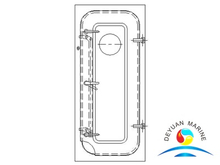 Marine Steel Semi-watertight Door With Round Window For Vessel
