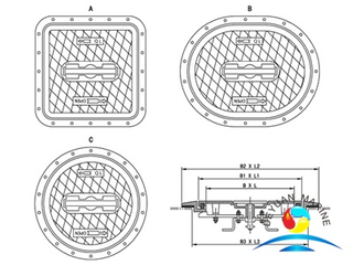 QL-402 Alummium Sunk Type Watertight Hatch Cover (Without hinge)